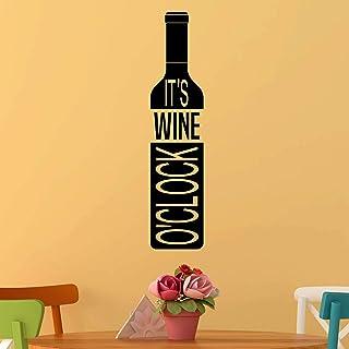 It's Wine O'clock bottle vinyl wall decal - Black