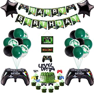 51 Pcs Video Game Party Supplies,Video Game Party Balloons Game Controller Balloons HAPPY BIRTHDAY Gaming Banner GAME ON W...