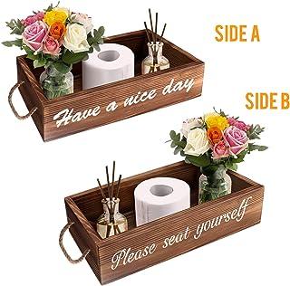 Soulcker Bathroom Decor Box, 2 Sides Funny Toilet Paper Holder, Rustic Wooden Farmhouse Bathroom Box, Diaper Organizer, Funny Home Decor Box for Bathroom, Table Counter and Kitchen (Brown)