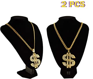Timoo Money Necklace, 2 PCS Gold Dollar Sign Necklaces Hip Hop Chain for Men (27.5-Inch)