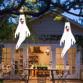 VesipaFly Halloween Ghost Windsocks 43 Inch Hanging Decorations for Halloween Outdoor Front Yard Patio Lawn Flag Wind Sock...