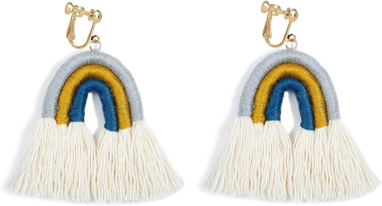 Fringe Earrings Clip on No Pierced Long Tassel Thread Lightweight Bohemian Dangle Rainbow Shaped Statement Handmade Women Girls