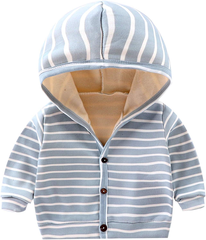 Toddler Fleece Jacket Hooded Baby Boys Girls Cute Spring Autumn Winter Coats Long Sleeve Warm Cotton Striped Outerwear