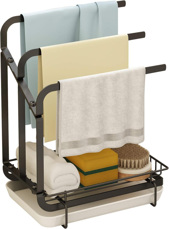 HomeMagic Organizador de Fregadero de Cocina, Soporte de Esponja con toallero, Organizador de Fregadero de Cocina con Bandeja extraíble (2)