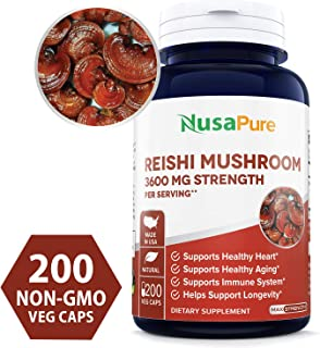 Reishi Mushroom Extract 3600mg 200 Veggie Caps (Non-GMO & Gluten Free) Promotes Heart Health - Helps Balance Blood Pressure & Hormones