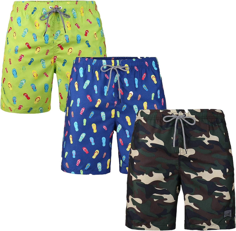Max 82% OFF 3 Pack Men's Swim Trunk Ranking TOP6 Fashion Swimming Vacation Drawstring Boa