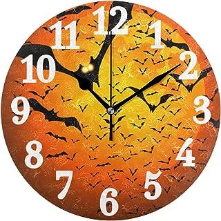 WIHVE 9.5 Inch Wooden Round Wall Clock, Vintage Arabic Numerals Happy Halloween Moon Bats Wooden Decorative Round Wall Clock
