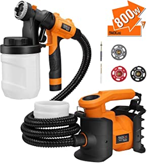 TACKLIFE Paint Sprayer, Max 800w power and viscosity 110 DIN-s ,HVLP Paint Gun with 2 PCS 1200ml Detachable Container, 3 Copper Nozzle Sizes ,easy-used for Painting Projects- SGP16AC
