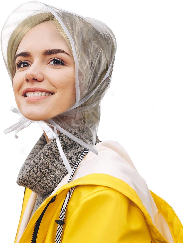 6 Piece Rain Bonnet with Visor Waterproof Clear Bonnet for Women Lady Rain Wear