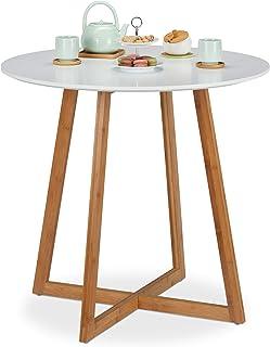 Relaxdays, blanc d'appoint ronde, table de salle à manger, cuisine, pieds bambou en croix, H x D 75 x 80 cm, nature, MDF, ...