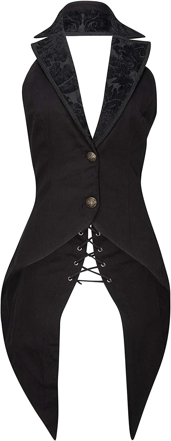 Glam and Gloria Womens Black Gothic Steampunk Vest Sleeveless Tail Jacket