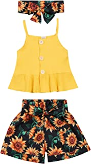 Toddler Baby Girl Summer Clothes Ribbed Knitted Ruffle Tank Top + Floral Shorts Summer Outfits Set