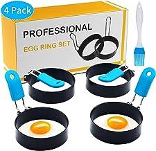 Egg Rings, 4 Pack Anti-scald Egg Molds - Stainless Steel Non-stick Round Egg Cooker Ring (Oil Brush Included) (3 inch)