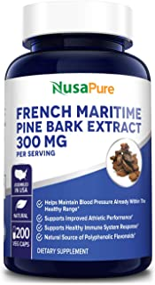 Sponsored Ad - French Maritime Pine Bark Extract 300mg 200 Veggie Capsules (Non-GMO & Gluten Free) Supports Heart Health, ...
