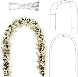 Hotop Metal Garden Arch Wedding Arch Garden Arbor Archway with Iron Wires for Indoor Outdoor Wedding Party Garden Patio Trellis Climbing Plant Garden Various Bridal Party Decoration Supplies (White)