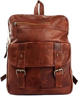LECONI Rucksack retro Lederrucksack Freizeitrucksack Vintage-Look Wanderrucksack backpack modern für Damen & Herren echtes Leder 30x37x13cm LE1018