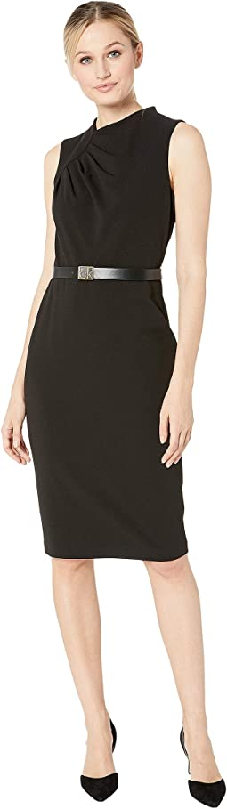 Ruched Bodice Belted Shift Dress with CK Logo Belt