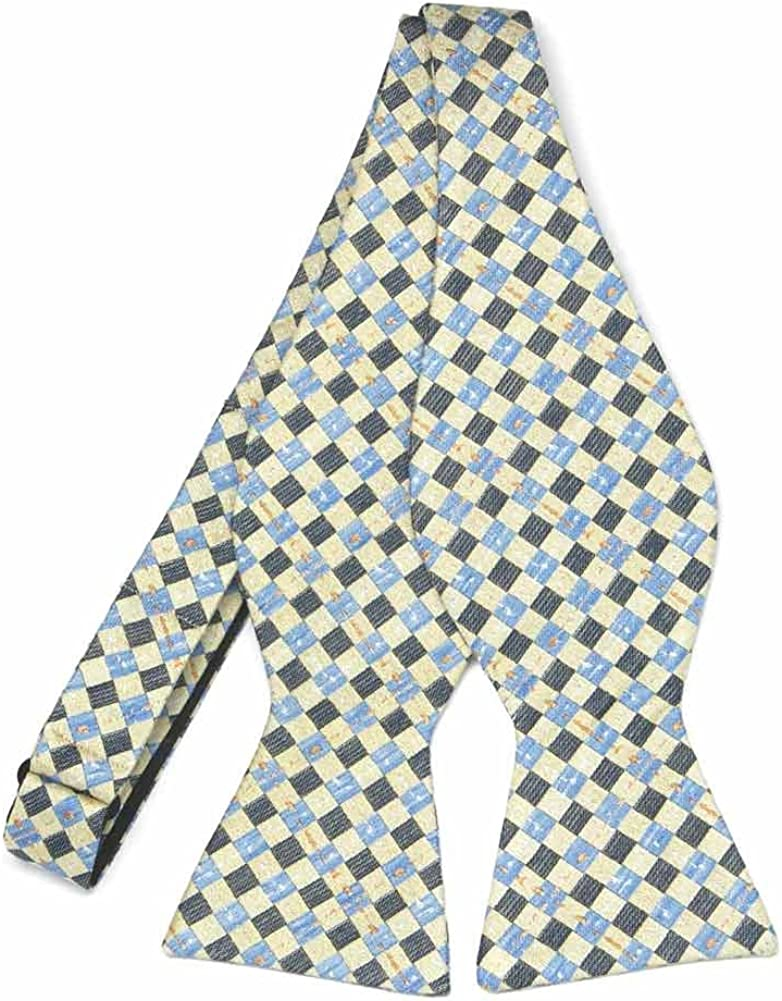 TieMart Regent Morris Neckwear Yellow Patriarch Plaid Linen/Silk Self-Tie Bow Tie