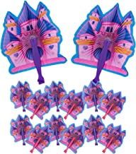 Kicko 10 Inch Folding Princess Castle Paper Fan - 12 Pieces of Accordion Style Multicolored Assortment - Perfect for Dress Ups, Festivals, Birthday, School Shows, Novelties, Party Favor and Supplies