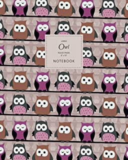 Owl Notebook - Ruled Pages - 8x10 - Large: (Pink Edition) Fun Bird of Prey Notebook 192 ruled/lined pages (8x10 inches / 2...