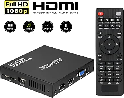 $55 Get Media Player, 2 HDMI Ports 1080P Full-HD Portable Digital Player, Play Video and Photos with USB Drive/SD Cards/HDD/External Devices, HDMI/AV/VGA Output