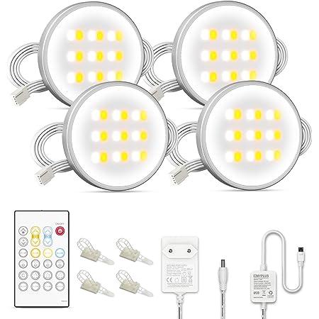 Réglette LED blanche - Éclairage de placard avec télécommande - Intensité variable - Chaude et changeable en lumière du jour - Pour armoire de cuisine, comptoir, étagère