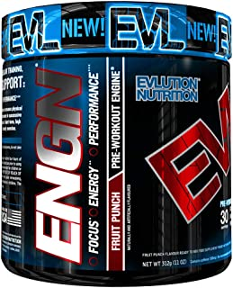 Evlution Nutrition ENGN Pre-Workout, Pikatropin-Free, Intense Pre-Workout Powder for Increased Energy, Power, and Focus, 3...