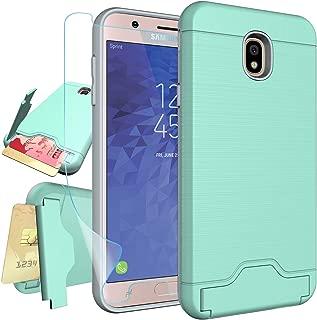 Samsung Galaxy J7 2018 Case,J7 Refine,J7 Star,J7 Top,J7 Crown,J7 Aura,J7 Aero Case with Screen Protector,NiuBox Card Slot Wallet Holster Kickstand Protective Phone Case for J7 V 2nd Gen Turquoise