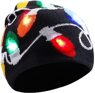 DX DA XIN Light up Hat Beanie LED Christmas Hat for Adults Women Men Kids Girls Boys Novelty Funny Hat Gifts (Black)