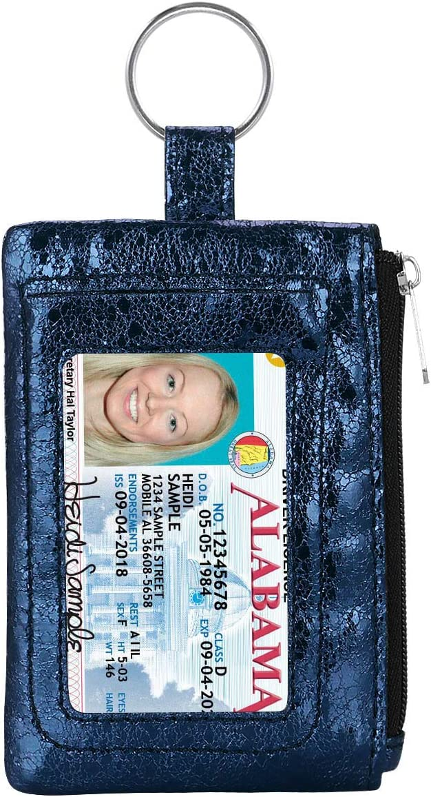 KAMO Zip ID Case, Slim Coin Purse Wallet Change Pouch with Key Ring Mini Change Wallet Keychain Purse