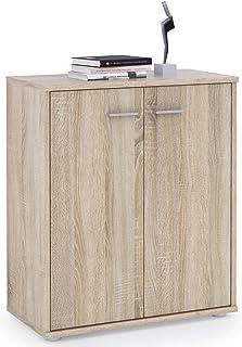 IDIMEX Buffet FIRMIN, Commode Meuble de Rangement avec 2 Portes, en mélaminé décor chêne Sonoma
