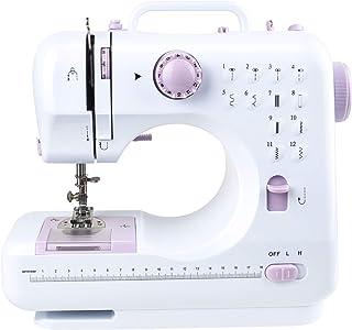 Máquina de coser portátil, máquina de coser eléctrica automática con pedales, kit de herramientas de costura pequeñas y ligeras ajustables para principiantes, hogar, bricolaje (12 puntadas)