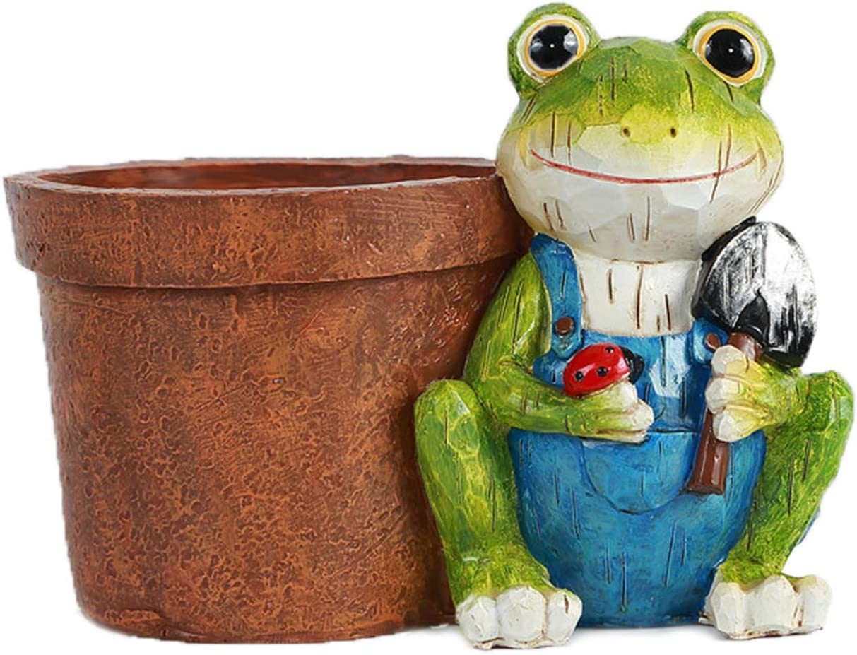 UAMSTYLE Frog Planter Flower Pots with Drain Hole,Animal Garden Resin Pots for All House Plants,Flowers,Herbs,African Violets,Cactus.Funny Pots Outdoor Indoor Home Patio Yard Decor 5.8 Inch Tall