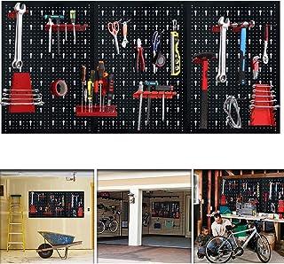 Aufun - Panel perforado para herramientas (17 ganchos, 120 x 60 x 2 cm), color negro y rojo