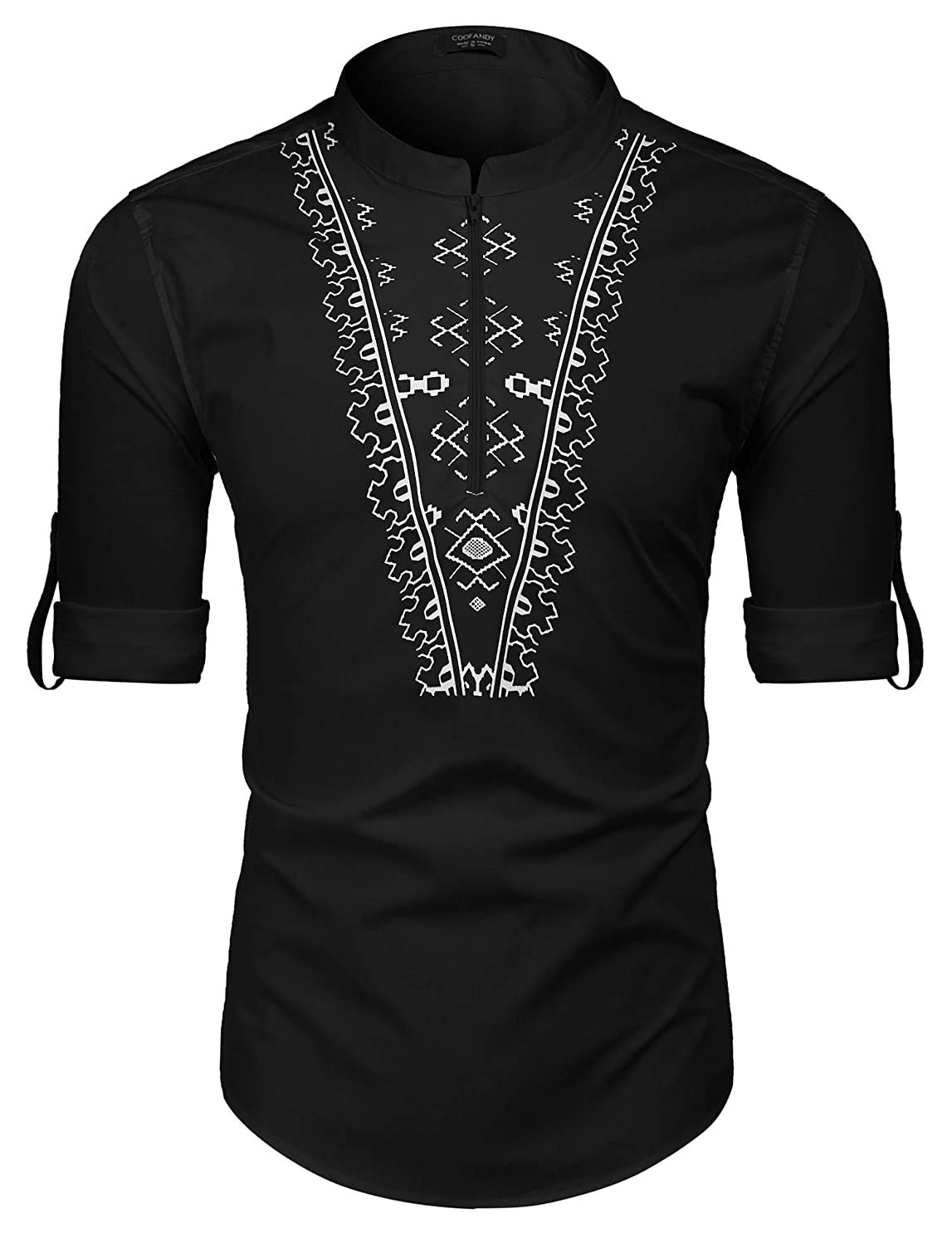 COOFANDY Men's Slim Fit Hippie Shirt Long Sleeve Graphic Printed Casual Zip Up Cotton Linen Beach Wedding Henley T Shirt