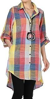Vogstyle Damen Frühling Neues Kariertes Hemd Button Down Langarm Bluse
