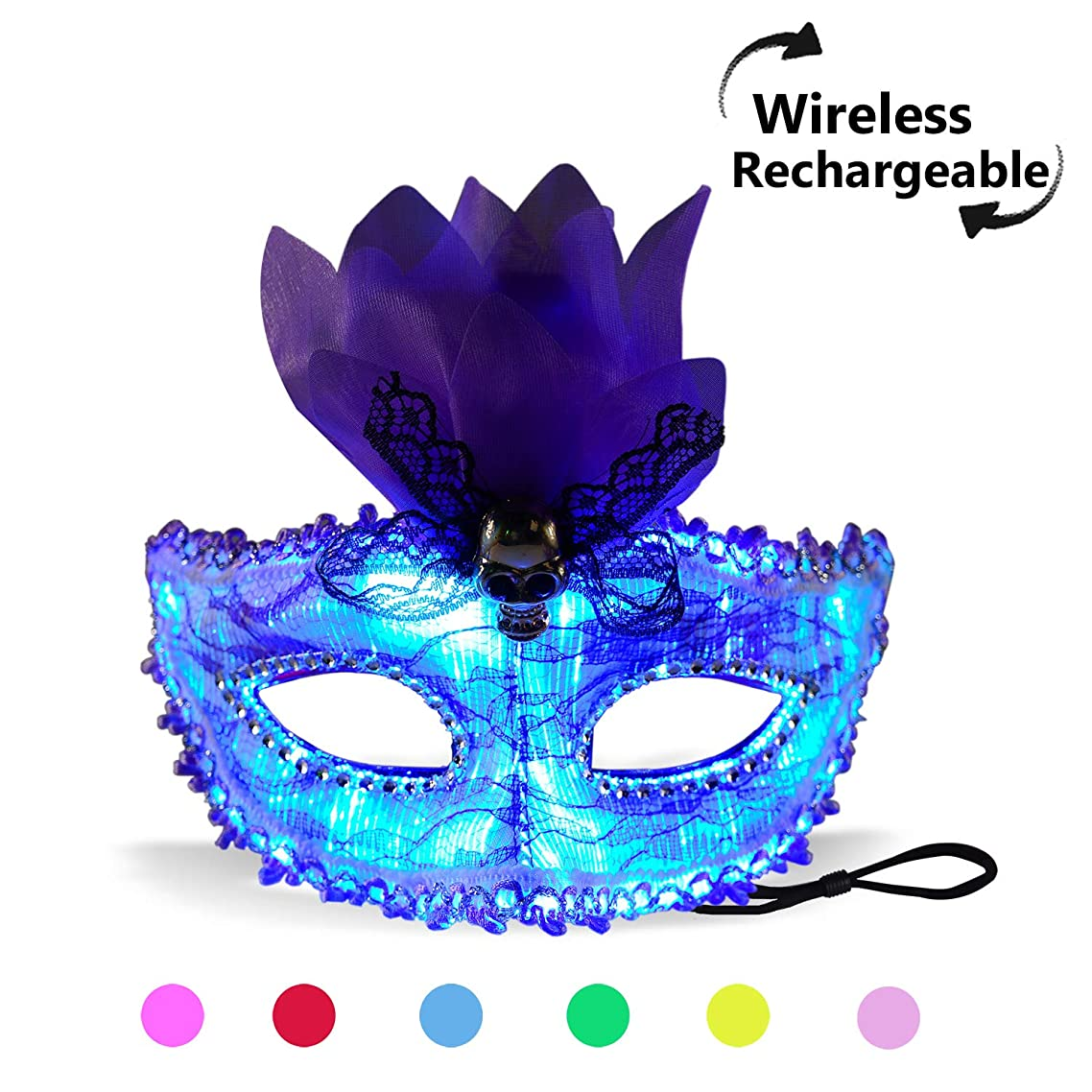 7 Color Lights LED Light up Venetian Mask USB Rechargeable Glowing Luminous Eye Mask for Christmas Party Festival Dancing Rave Masquerade Costumes (Eye Mask)