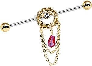 Body Candy Stainless Steel Red Ornate Flower Crown Helix Earring Industrial Barbell Piercing 14 Gauge 38mm