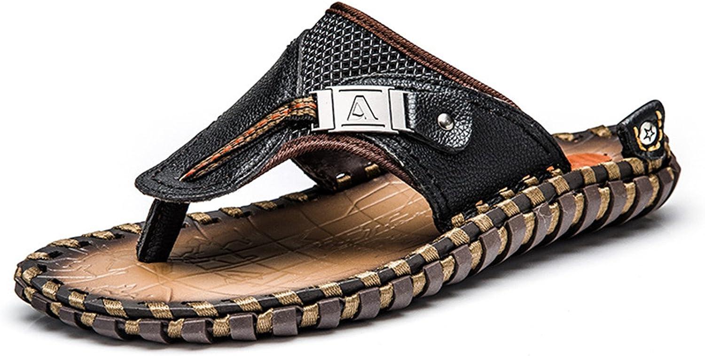 Flip Flops Genuine Leather Slippers Summer Fashion Beach Sandals shoes Men Big Size 45