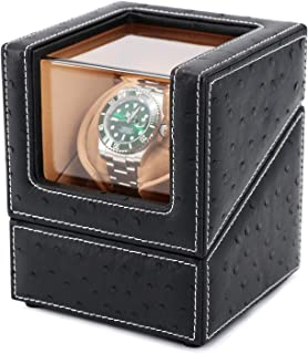 Driklux Automatic Single Watch Winder Case for Rolex with Quiet Motor,Premium Ostrich Leather Exterior and Soft Flexible Watch Pillows(Black+Camel Velvet)