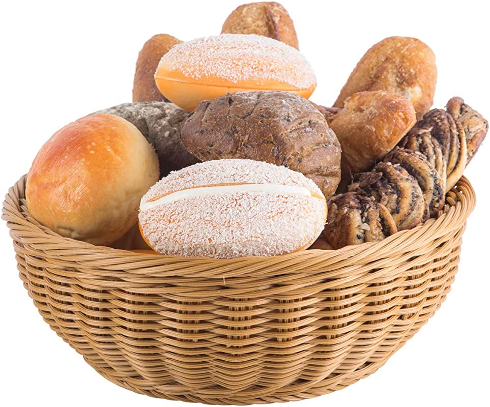 Woven Bread Basket 12 In Round Poly Wicker Food Fruit Vegetable Basket Serving Basket For Store Kitchen Round 1pc