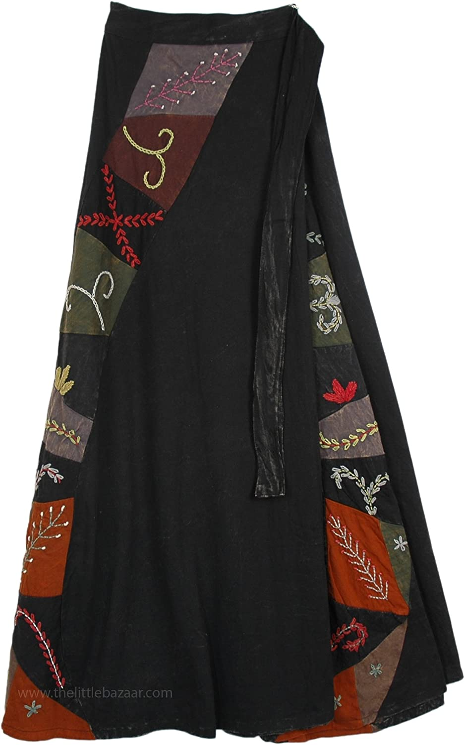 TLB - Patchwork and Hand Embroidered Deep Black Wrapper Skirt - L:37