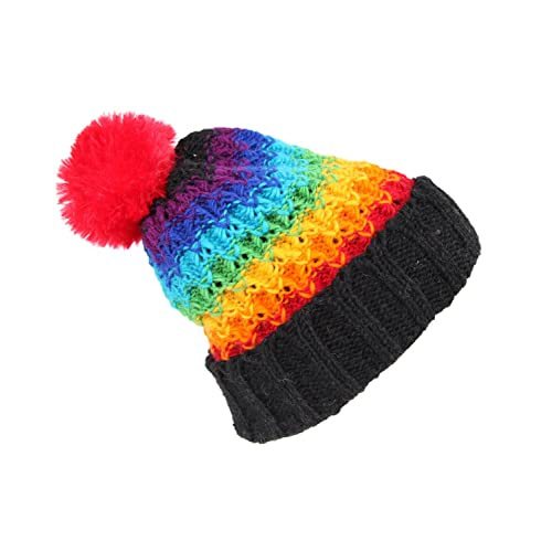 e04d42be8be Chunky Knit Rainbow Bobble Hat