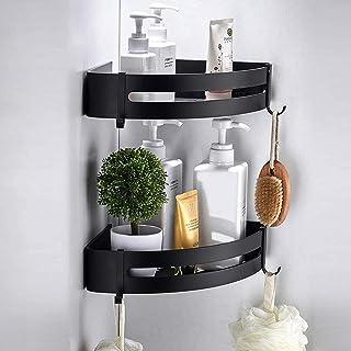 Support mural pour salle de bain en aluminium Space, sans perçage, avec 4 crochets, utilisable dans la cuisine et la salle...
