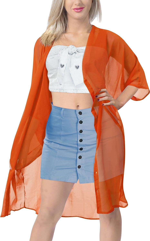 LA LEELA Women's 3/4 Sleeve Snap Button Down Solid Color Knit Ribbed Neckline Cardigans