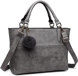 Miss Lulu Handtasche Damen Aktentasche Elegant PU-Leder Shopper Henkeltasche Crossbody-Tasche (Grau)