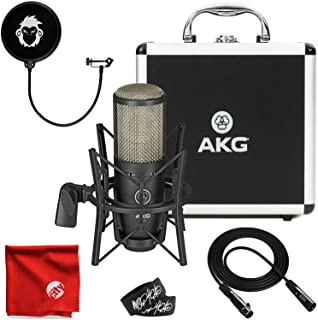 AKG Project Studio P220 Large-Diaphragm Cardioid Condenser High-Performance Microphone Bundle with 10-Foot XLR Cable, Pop Filter, Cable Ties and Microfiber Cloth