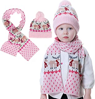 Christmas Knitted Baby Hat Scarf Set Winter Warm Toddler Boys Girls Snow Pompom Hat with Ear Flap