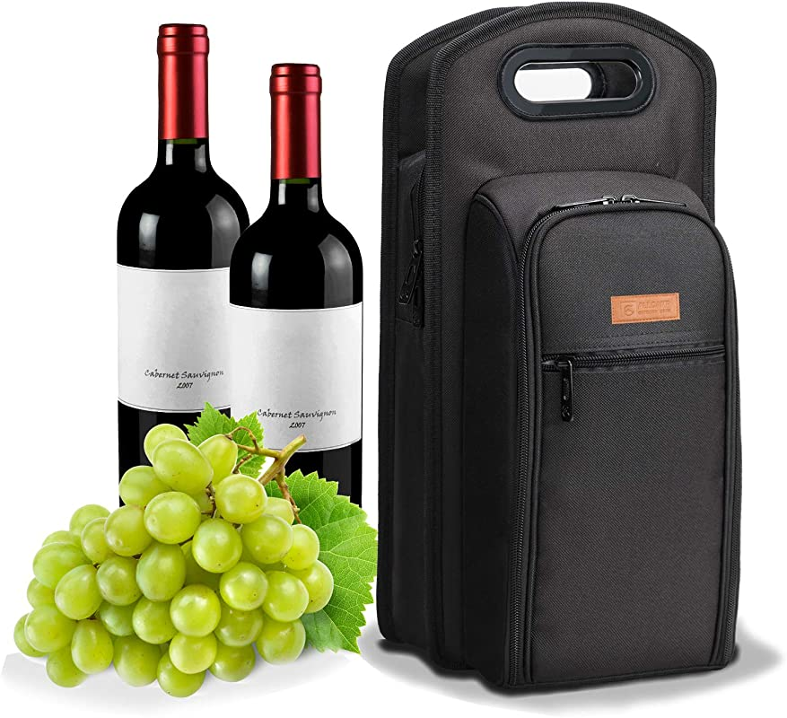 ALLCAMP 9 Piece Wine Travel Bag And Insulated Wine Carrier Tote Carrying Cooler Bag With Handle Great Gift For Wine Lover