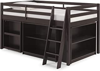 Roxy Junior Twin Loft Bed with Pull-Out Desk and Storage Shelves, Espresso